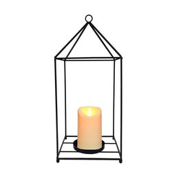 Lantern in metal and an Outdoor led moving flame candle