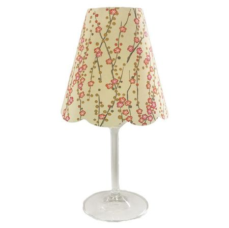 A LED Lamp made with a wineglass and a lamp shade - Coral Flowers  for Gift and House Decoration