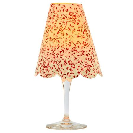 A LED Lamp made with a wineglass and a lamp shade - Red Flowers  | House Decoration