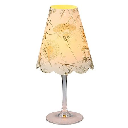 A LED Lamp made with a wineglass and a lamp shade - Gold Dandelion for Gift and House Decoration