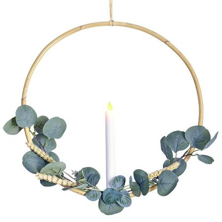 Rattan circle holder with a LED candle - wheat and eucalyptus