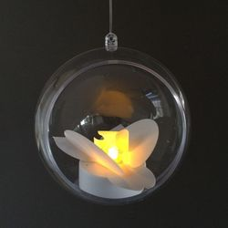 Plexiglass Bubble Ø 12 cm with a LED Orchidee