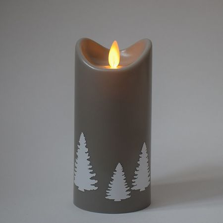 LED Grey Christmas Candle - White Christmas Trees