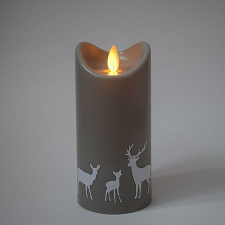 LED Grey Christmas Candle - White Deers