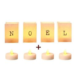 "4 paper candle holder ""Noël"" -  With LED candles"