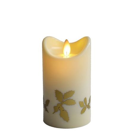 LED Ivory Christmas Candle - Gold Holly