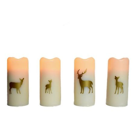 Small wax pillar led candle - gold deers