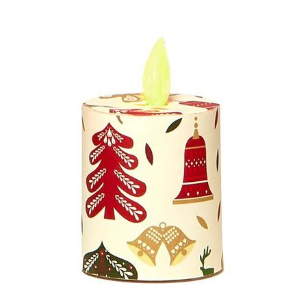 Votive Candle with Moving Flame - Deer & Christmas Tree - H 5,2 cm