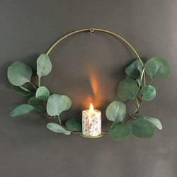 Metal holder and a LED candle with moving flame - Japanese paper and eucalyptus