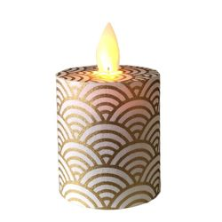 Led candle with moving flame - Large gold waves - H 5,2 cm