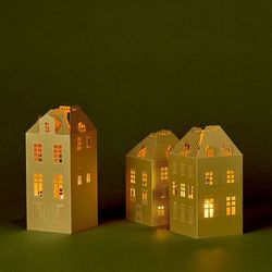 3 Gold house candle holders without LED tealights