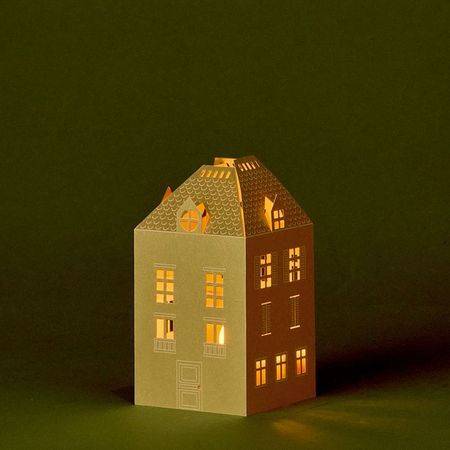 Gold House Candle Holder - H 13.5cm - without LED candle