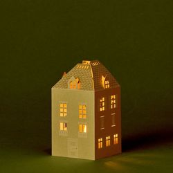 House Holder made in Golden Paper H 13,5cm - without LED candle
