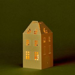 Gold House Candle Holder - H 15cm - without LED candle
