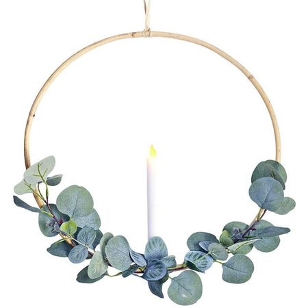 Rattan circle holder with a LED candle and eucalyptus - Ø 40 cm