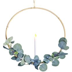 Couronne eucalyptus et chandelle LED - Ø 40 cm