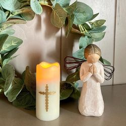 Small LED wax pillar candle - baroque cross