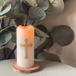 Small LED wax pillar candle - Baroque Cross #2