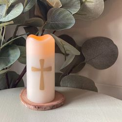 Small LED wax pillar candle - Modern Cross