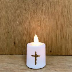 Mini LED candle with moving flame - Baroque Cross
