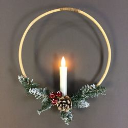 Bamboo wreath with led candle and pine cones Ø 30 cm