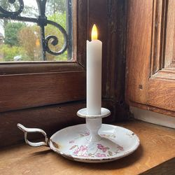 LED white wax taper candle - H 15CM