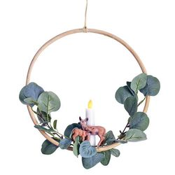 Rattan circle holder with a LED candle and eucalyptus - Ø 30 cm