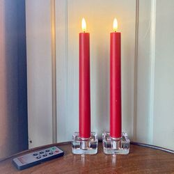 2 Bougies led en cire rouge - H25CM