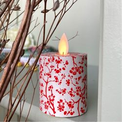 LED candle with moving flame red flowers - H5.2CM