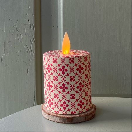 LED candle with moving flame red & ivory - H5.2CM