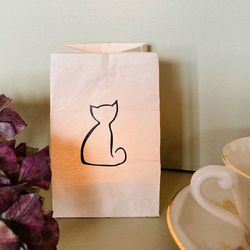 led paper lantern - with a cat