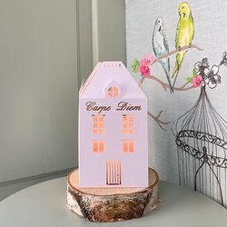 House Candle Holder - H 13.5cm - Carpe Diem