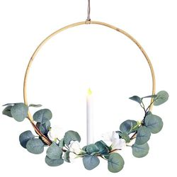 Rattan circle holder with a LED candle - eucalyptus and white flower