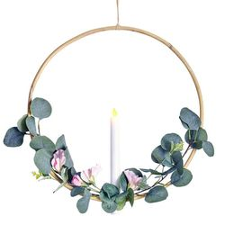 Rattan circle holder with a LED candle - eucalyptus and pink flower