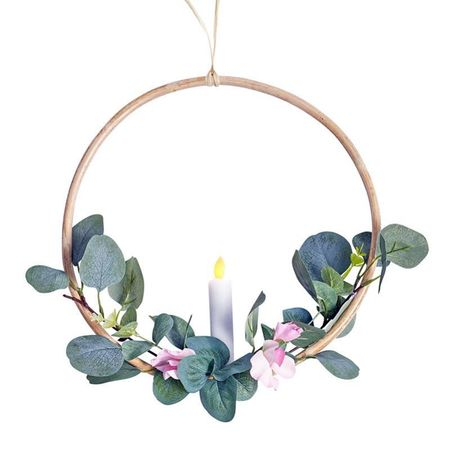 Rattan circle holder with a LED candle - eucalyptus and pink flower - Ø 30 cm