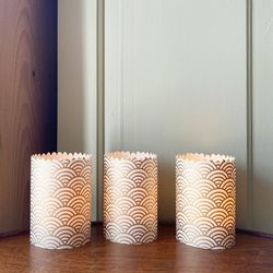 3 festoon candle holders in Japanese paper - Golden  Wave