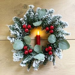 Wreath with a red LED candle and eucalyptus  Ø 30 cm