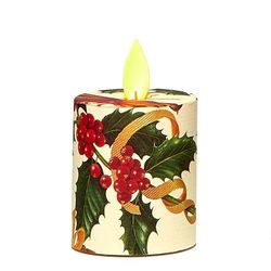 Votive Candle with Moving Flame - Christmas Holly - H 5,2 cm