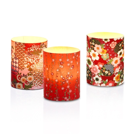 Set of 3 led japanese candle holder # 6
