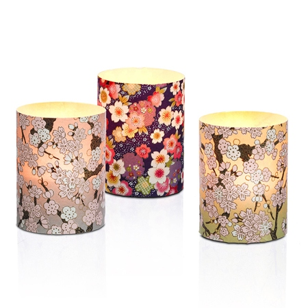 3 photophores led papier washi - H10CM