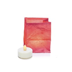 The vegetable fibre paper lantern and its LED candle – pink BERLINGO
