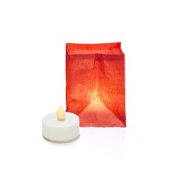 The paper lantern in vegetable fibre with its LED tea light - red