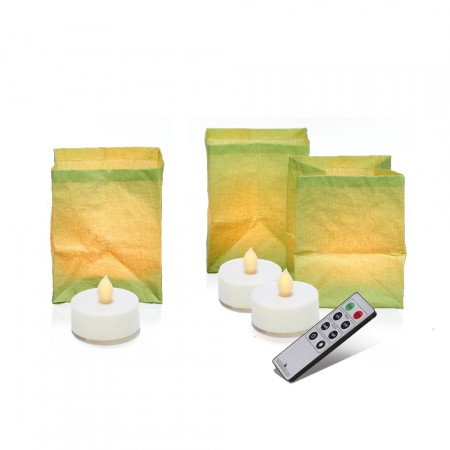 Set of 3 paper lanterns with LED candles - BERLINGO Green anise