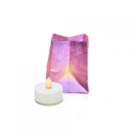 The vegetable paper lantern with LED candle – lilac