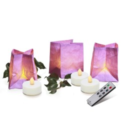 Handcrafted lilac paper lanterns