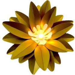 Fleur lumineuse à led – Grand lotus couleur or