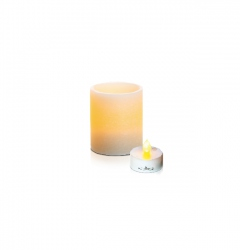 LED textured wax candle holder - H8cm