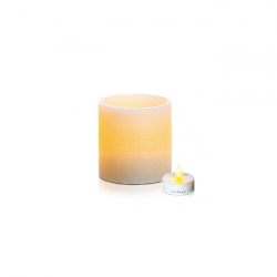 LED textured wax candle holder - H10cm