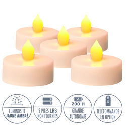 5 LED tealights yellow flame - Ø5.5CM