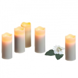 5  small pillar candles with timer - H7.6CM